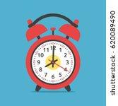 fried egg in red clock on blue... | Shutterstock .eps vector #620089490