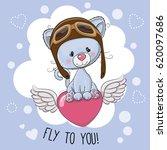Stock vector cute cartoon kitten in a pilot hat is flying on the heart 620097686
