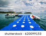 Boats and floating docks in the beautiful sea. Phuket Thailand