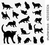 set of cats silhouettes on a... | Shutterstock . vector #620103326