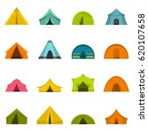 tent forms icons set in flat... | Shutterstock .eps vector #620107658