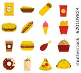 fast food cons set in flat... | Shutterstock .eps vector #620109824