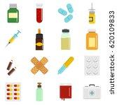 Medicine Pill Icons Set. Flat...