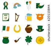 saint patrick icons set in flat ... | Shutterstock .eps vector #620110844