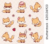 cute little foxes in kawaii... | Shutterstock .eps vector #620136923