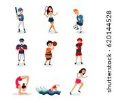 professional athletes set of... | Shutterstock .eps vector #620144528