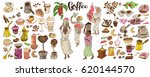 colorful doodle coffee elements ... | Shutterstock .eps vector #620144570