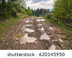 Broken Country Dirt Road In...