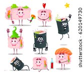vector characters of sushi.... | Shutterstock .eps vector #620149730
