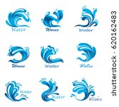 set of isolated sea waves with... | Shutterstock .eps vector #620162483