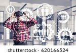 young man with virtual reality... | Shutterstock . vector #620166524