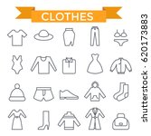 clothes icons  thin line  flat... | Shutterstock .eps vector #620173883