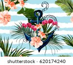 seamless vector tropical... | Shutterstock .eps vector #620174240