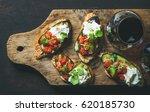 wine and snack set. brushetta... | Shutterstock . vector #620185730