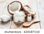 organic cosmetics with coconut... | Shutterstock . vector #620187110