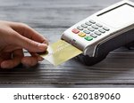 payment terminal with card on... | Shutterstock . vector #620189060