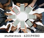 group of people using mobile... | Shutterstock . vector #620194583