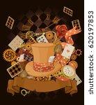 wonderland design in steampunk... | Shutterstock .eps vector #620197853