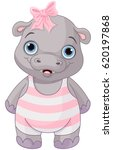 illustration of cute baby hippo ... | Shutterstock .eps vector #620197868