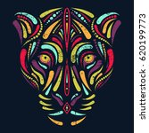 jaguar head in psychedelic... | Shutterstock .eps vector #620199773