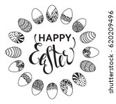 happy easter outline round... | Shutterstock .eps vector #620209496