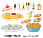 various meat canape snacks... | Shutterstock .eps vector #620217059