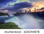 Small photo of Sunset over Niagara Falls And American Falls, New York State, USA