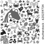 gray zodiac icon background | Shutterstock .eps vector #620259734