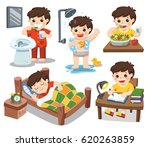 the daily routine of a cute boy ... | Shutterstock .eps vector #620263859