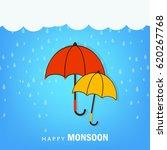 happy monsoon  umbrella... | Shutterstock .eps vector #620267768