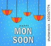 happy monsoon  umbrella... | Shutterstock .eps vector #620267774