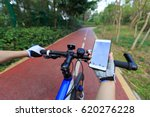 cyclist use smartphone for... | Shutterstock . vector #620276228