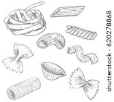pasta mix. hand drawn sketch.... | Shutterstock .eps vector #620278868