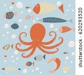 sea creatures | Shutterstock .eps vector #620293520