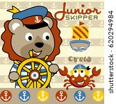 cute lion the junior skipper... | Shutterstock .eps vector #620294984