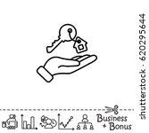 web line icon. key in hand  key ... | Shutterstock .eps vector #620295644