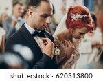 happy bride and stylish groom... | Shutterstock . vector #620313800