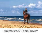 Girl On A Horse Galloping Alon...