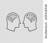 two heads with brain icon.... | Shutterstock .eps vector #620318318