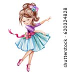 watercolor illustration  cute... | Shutterstock . vector #620324828