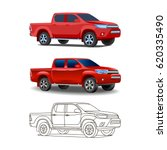 pickup truck in a realistic... | Shutterstock .eps vector #620335490