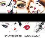 fashion collage. beautiful... | Shutterstock . vector #620336234
