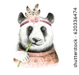 watercolor panda illustration.... | Shutterstock . vector #620336474