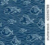 fish seamless border pattern....   Shutterstock .eps vector #620340788