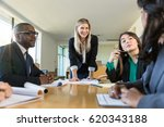 group meeting at nonprofit... | Shutterstock . vector #620343188
