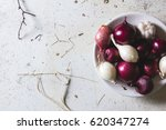 Red And White Onion Bulbs In...