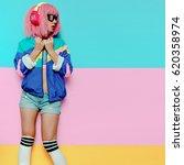 stylish girl dj. musical...   Shutterstock . vector #620358974