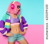 stylish girl dj. rave era. club ...   Shutterstock . vector #620359100