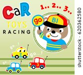 car toy racing with cute bear... | Shutterstock .eps vector #620362580