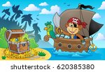 boat with pirate monkey theme 3 ... | Shutterstock .eps vector #620385380